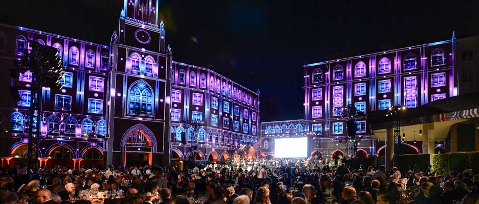 USC Village is lit dramatically during the Oct. 3 gala