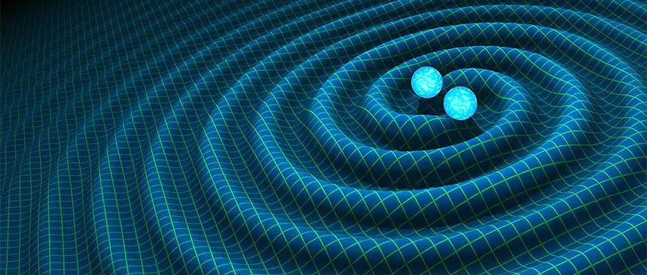 An artist's impression shows gravitational waves generated by binary neutron stars.