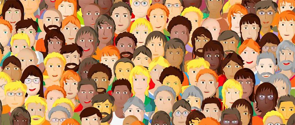 Illustration showing a diverse crowd of faces