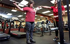 Carla Sanchez works out with Christina Dieli-Conwright.