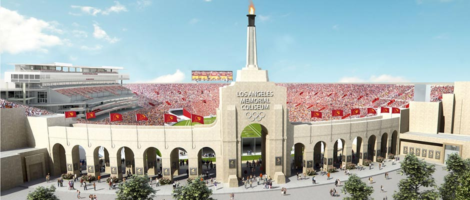 Artist's rendering of the Los Angeles Memorial Coliseum after renovation