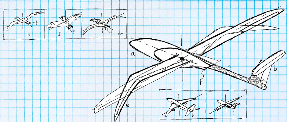 Illustration of a bird-like vehicle superimposed on top of an aerodynamically designed competition glider, center, compared with conventional aircraft shapes at top left and examples of natural flight, bottom right