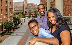 Maxwell Leaks, 9, lives at USC Village with his mother Cynthia and father Broderick Leaks, an educator at the Engemann Student Health Center