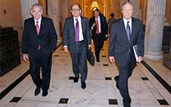 USC President C. L. Max Nikias leads the delegation, including USC Trustee Edward P. Roski Jr., Associate Senior Vice President of Federal Government Relations David Brown and Trustee Chris Cox. (USC Photo/Eric Abelev)