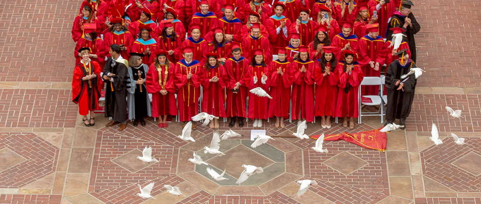 Doves are released at end of USC commencement