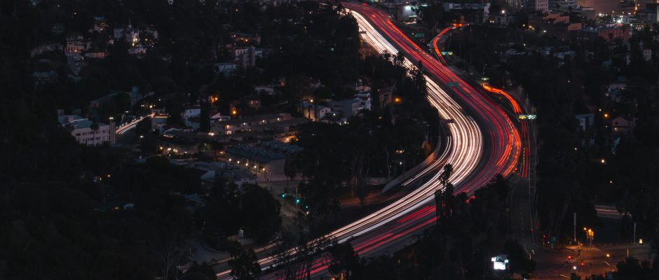 Los Angeles traffic at night