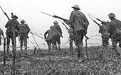 Soldiers fight in the Battle of the Somme in 1916