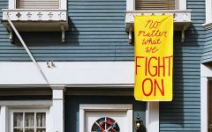 """""""No matter what we FIGHT ON"""" banner"""