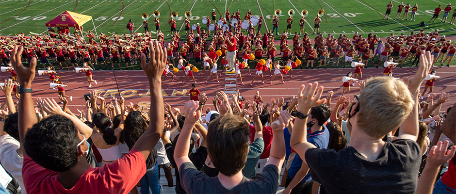 Trojan Marching Band and Song Girls perform at spirit rally